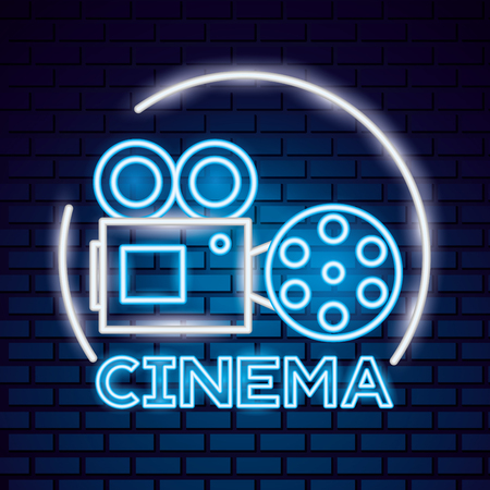 projector reel film movie time neon vector illustration