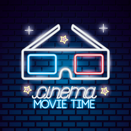 3d glasses movie time neon vector illustration