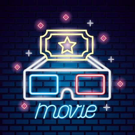 3d glasses ticket movie time neon vector illustration Illustration