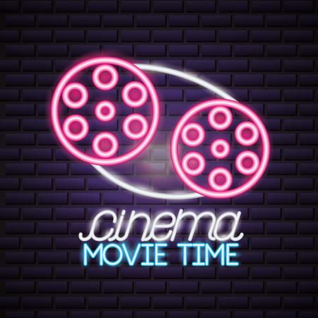 reel to reel cinema movie time neon vector illustration