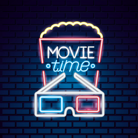 popcorn 3d glasses movie time neon vector illustration