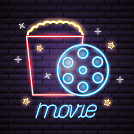 popcorn and reel movie time neon vector illustration