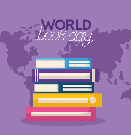 books stacked map world book day vector illustration