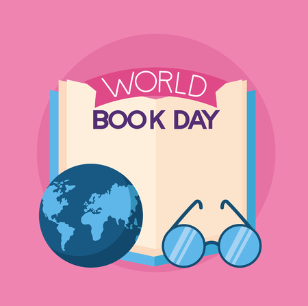 eyeglasses and globe world book day vector illustration