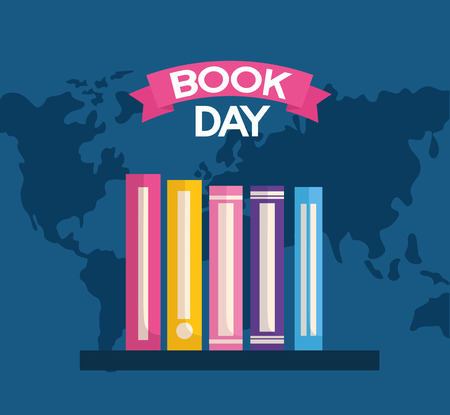Livres d'apprentissage étagère journée mondiale du livre illustration vectorielle