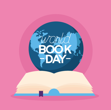 world book day open text vector illustration