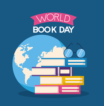 world book day books stacked eyeglasses vector illustration