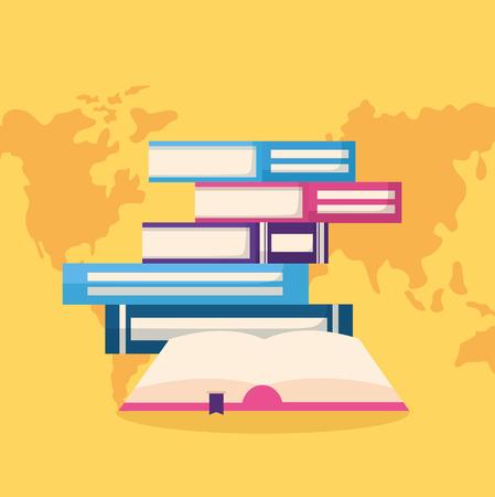 Journée mondiale du livre encyclopédie des livres empilés vector illustration