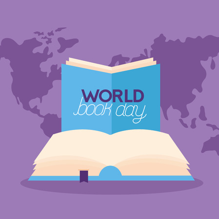 world book day read knowledge vector illustration Ilustrace