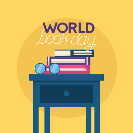 world book day books eyeglasses in table vector illustration
