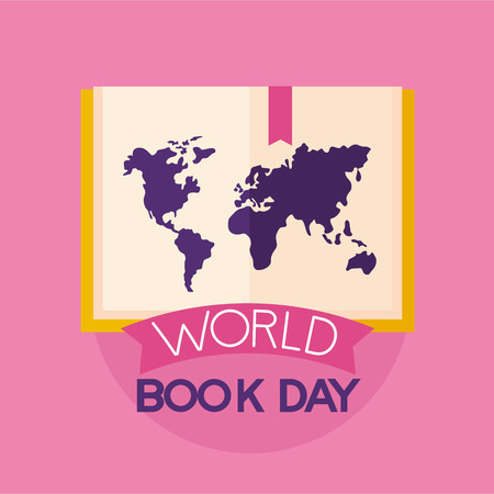 world book day greeting card vector illustration