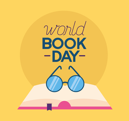 world book day eyeglasses learn vector illustration