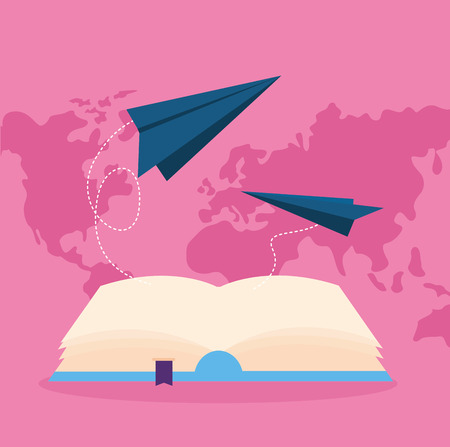 world book day flying paper plane imagination read vector illustration