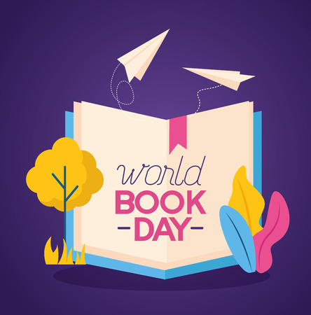 world book day knowledge nature vector illustration