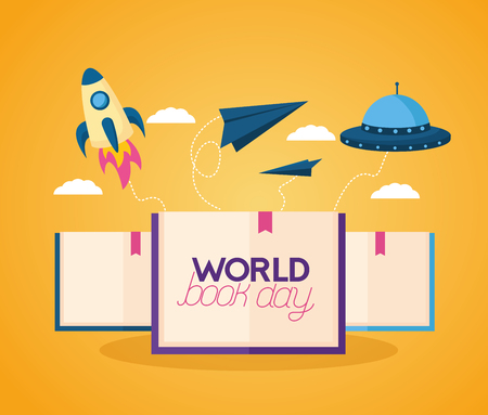 world book day fantasy fiction travel vector illustration