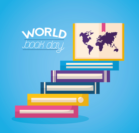 world book day step books knowledge vector illustration