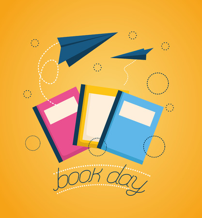 world book day books paper planes fly vector illustration
