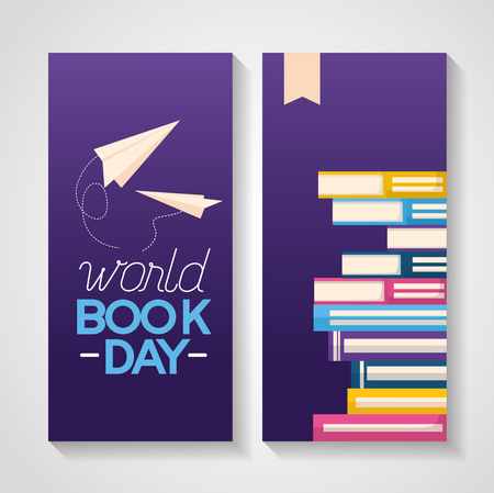 world book day stack books learn paper plane vector illustration