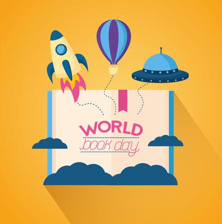 world book day imagination rocket plane ufo vector illustration