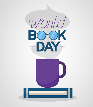 world book day coffee cup break vector illustration Illustration