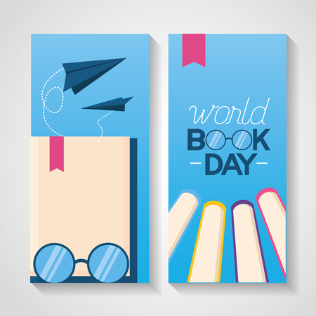 world book day eyeglasses books card vector illustration