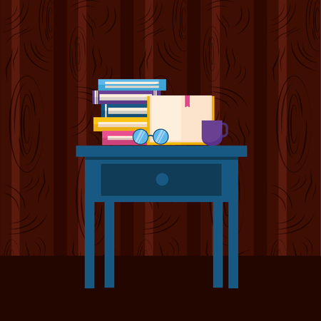 world book day books eyeglasses and coffee in table vector illustration 向量圖像