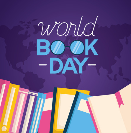 world book day lettering books vector illustration