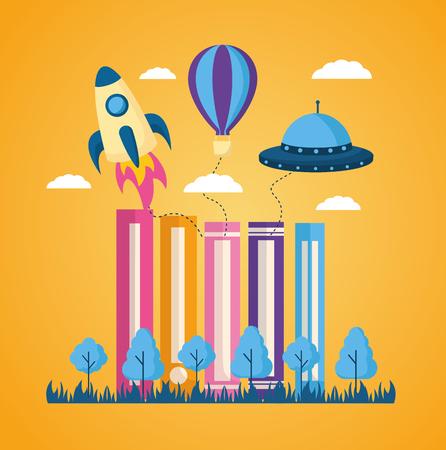 world book day books landscpae rocket ufo plane vector illustration  イラスト・ベクター素材
