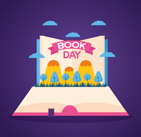 world book day landscape literature vector illustration  イラスト・ベクター素材