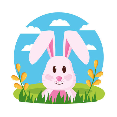 cute rabbit eggs painted happy easter celebration vector illustration