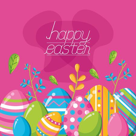 decorative eggs flowers decoration happy easter celebration vector illustration