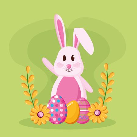 cute rabbit eggs painted happy easter celebration vector illustration Illustration