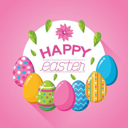 delicate eggs flowers decoration happy easter vector illustration