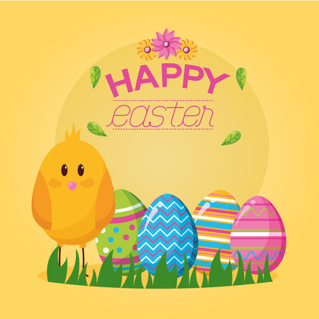 cute chick eggs happy easter celebration vector illustration