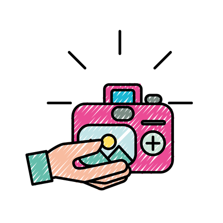 hand with photographic camera picture art vector illustration Ilustração