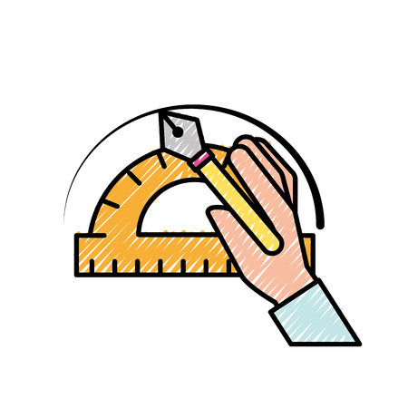 hand with fountain pen protractor graphic design vector illustration