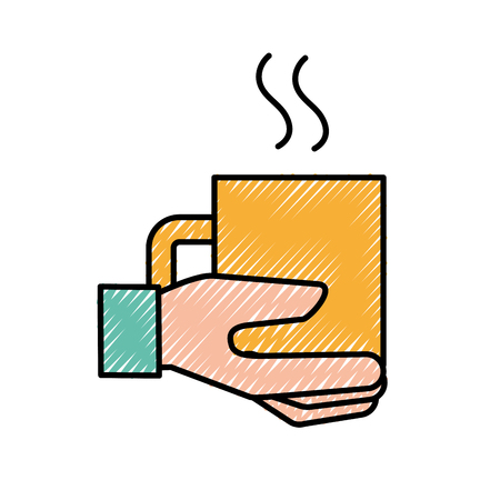 hand holding coffee cup hot beverage vector illustration Illustration