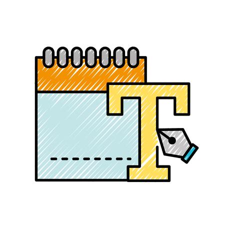 graphic design notepad type tool fountain pen vector illustration Illustration