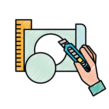 hand holding cutter making circle with paper vector illustration