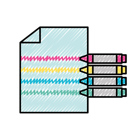 graphic design crayons color making lines on paper vector illustration