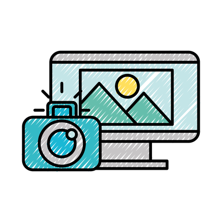 computer screen photographic camera photo vector illustration