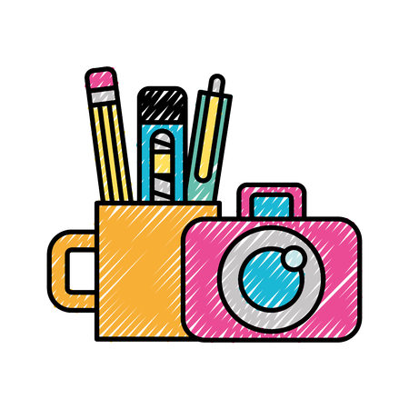 graphic design photographic camera and supplies vector illustration Çizim