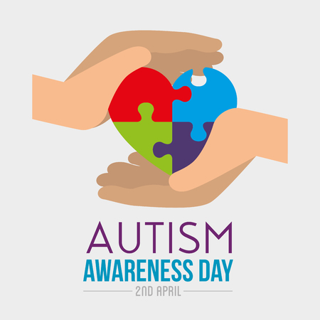 hands with heart puzzle to autism day vector illustration