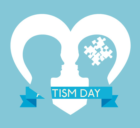kids silhouette with puzzles to autism day vector illustration