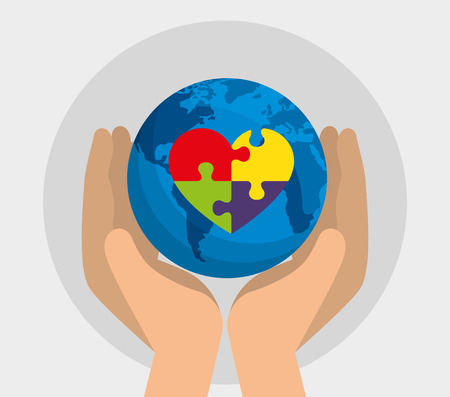 hand with global map and heart puzzle to autism day vector illustration