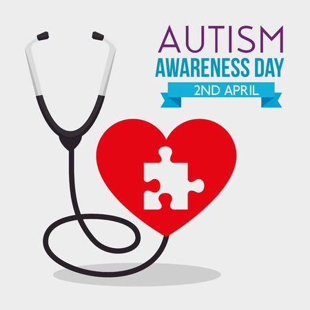 puzzle inside puzzle and stethoscope to autism day vector illustration Ilustração