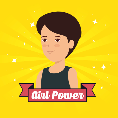 woman with girl power message in the ribbon vector illustration
