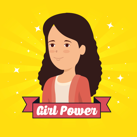 woman and ribbon with girl power message vector illustration Фото со стока - 118747048