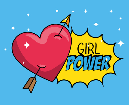 heart with arrow patch and girl power message vector illustration Illusztráció