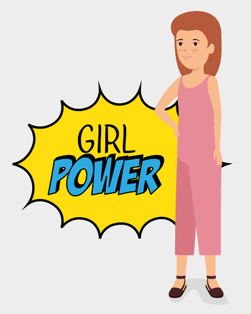 fashion woman with star patch and girl power message vector illustration